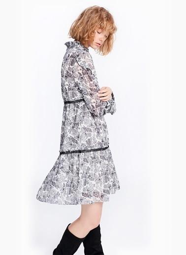 Fırfır Ve Güpür Şeritli Desenli Elbise-Twist